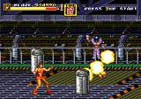 Streets of Rage 2 Genesis Stage 7: Inside the factory a biker is throwing bombs at Blaze