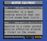Lock On SNES Weapon equip screen