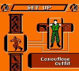 Action Man: Search for Base X Game Boy Color Selecting an outfit, and weapons.