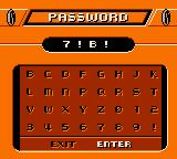 Action Man: Search for Base X Game Boy Color Password screen