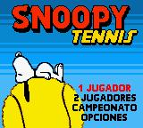 Snoopy Tennis Game Boy Color Title screen (Spanish)