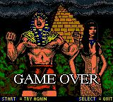 The Mummy Returns Game Boy Color One of the colorful game over screens.