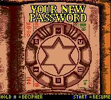 The Mummy Returns Game Boy Color Password screen.