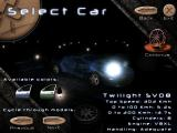Midnight Racing Windows Car selection screen. The two locked cars are also displayed.