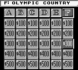 Jeopardy! Sports Edition Game Boy I'll take Olympic countries for 300.