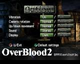 OverBlood 2 PlayStation Settings screen