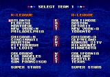 Tecmo Super Baseball Genesis Select teams.