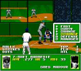 Tecmo Super Baseball Genesis A behind-the-pitcher-view while pitching.