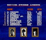 Tecmo Super Baseball Genesis Batting average leaders