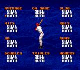 Tecmo Super Baseball Genesis All the batting categories the game keeps track of.