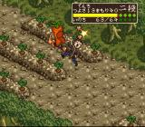 Tenchi Muyō! Game-hen SNES Tenchi being overwhelmed by a rain of tiny carrots.