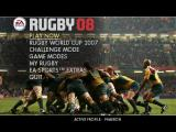 Rugby 08 Windows Main menu screen