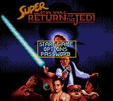 Super Star Wars: Return of the Jedi Game Gear Title screen and main menu