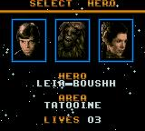 Super Star Wars: Return of the Jedi Game Gear Choose who you will play as.