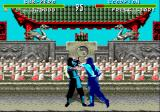 Mortal Kombat Genesis Sub-Zero is using his cold attack on Scorpion