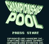 Championship Pool Game Boy Title screen