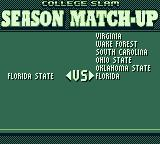 College Slam Game Boy Selecting teams for a season match-up. I choose Florida State Seminoles vs. Florida Gators.