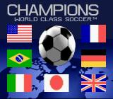 Champions World Class Soccer SNES Title screen (The Japanese version is the same except the Canadian flag is replaced with a Japanese flag.)