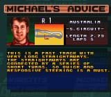 Michael Andretti's Indy Car Challenge SNES Michael's advice