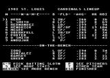 MicroLeague Baseball Atari 8-bit Setting up the lineup and options before the game begins