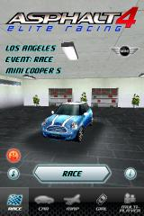 Asphalt 4: Elite Racing iPhone Automobile selection