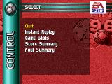 FIFA Soccer 96 SEGA 32X The after-game menu.