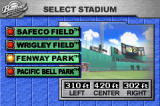 Baseball Advance Game Boy Advance There are four different stadiums to choose from with dimensions based on their real-life counterparts.