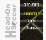 Head-On Soccer SNES Title screen and main menu (US version)