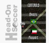 Head-On Soccer SNES Select your controls. There's not much choice if you only have one controller hooked up.