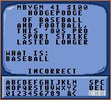 Jeopardy! Sports Edition Game Gear This response was wrong.