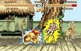 Street Fighter II Amiga E. Honda is receiving electric shocks from Blanka.