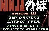 Ninja Gaiden III: The Ancient Ship of Doom Lynx ROM Initialization screen