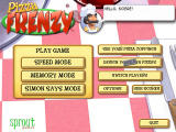 Pizza Frenzy Windows Main Menu