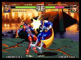 Voltage Fighter Gowcaizer Neo Geo Captain Atlantis is using his head.