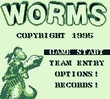 Worms Game Boy Title screen and main menu