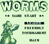 Worms Game Boy Select what type of match to play.