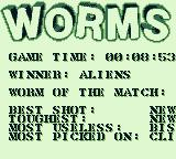 Worms Game Boy Game length, the winner and the Worms of the Match.