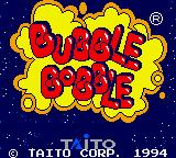 Bubble Bobble Game Gear Title