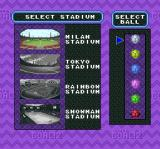 Super Goal! 2 SNES Select a stadium and the color of the soccer ball