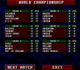 Championship Soccer '94 SNES World Championship standings