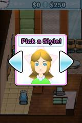 Sally's Salon iPhone Helping a customer pick a style.