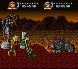 Battletoads in Battlemaniacs SNES The rock pig boss monster approaches and the Toads are suitably scared