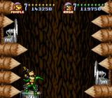 Battletoads in Battlemaniacs SNES The fans attempt to blow the Toads into the spikes