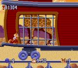 Bubsy in: Claws Encounters of the Furred Kind SNES Out in the desert, riding a train that is carrying a giraffe