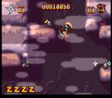 Zero the Kamikaze Squirrel SNES Springing through the caverns with alpha-blended clouds