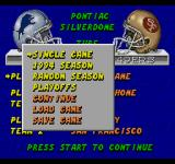 ESPN Sunday Night NFL SEGA CD Game menu