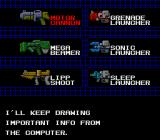Silent Debuggers TurboGrafx-16 Weapon selection