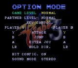 Final Fight 3 SNES Options screen