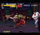 Final Fight 3 SNES Fighting the bouncer and some other goons in a nightclub