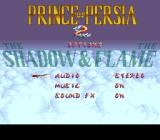 Prince of Persia 2: The Shadow & The Flame SNES Options screen